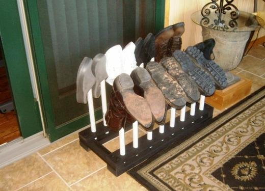 free boot rack plans how to build a boot rack or shoe rack. Black Bedroom Furniture Sets. Home Design Ideas